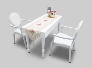 avalon curved rectangular white dinint table with dior white dining armchairs 1 300x223 - Avalon Chic Rectangular White Dining Table