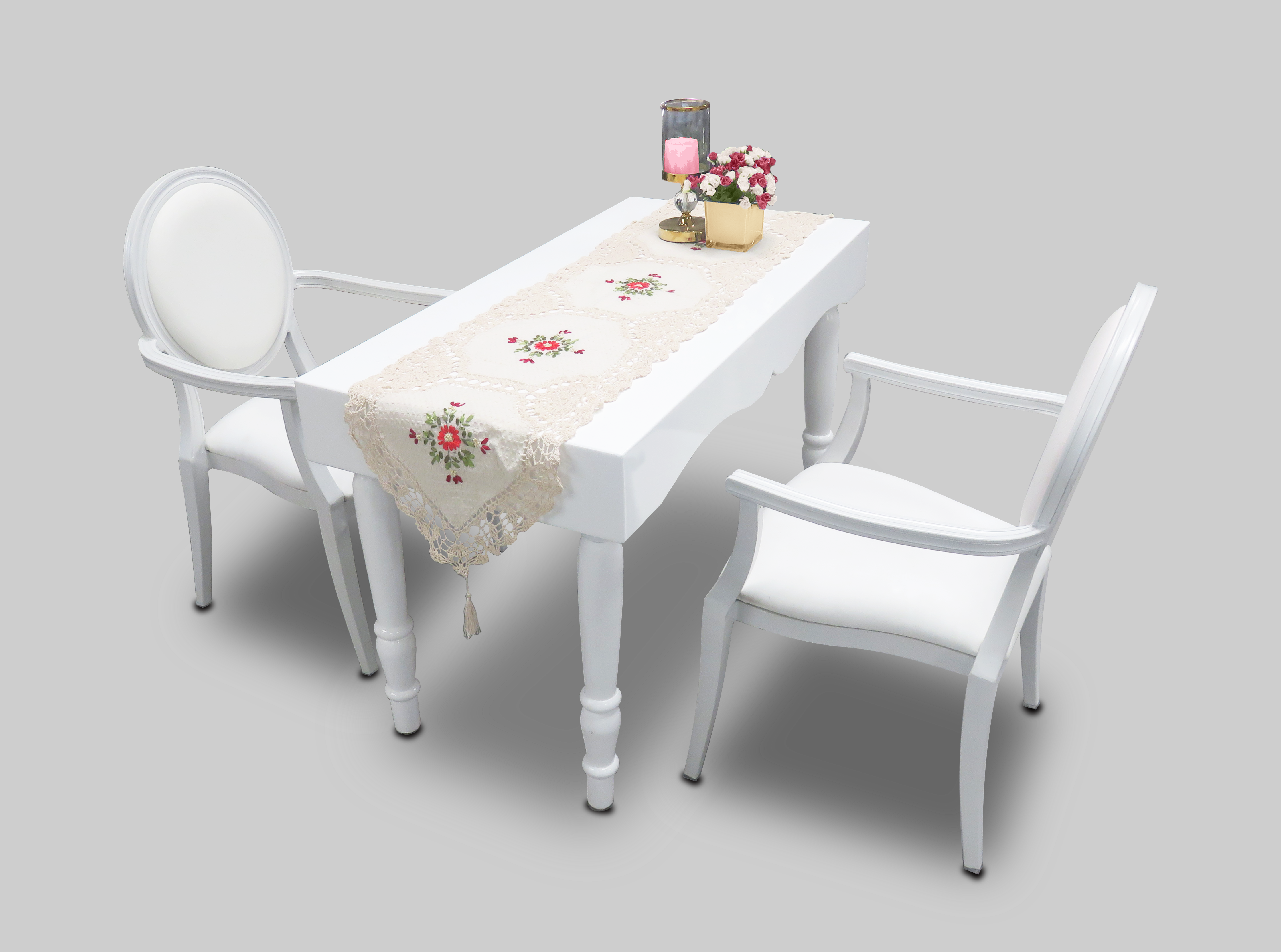 Avalon Curved Rectangular White Dinint Table With Dior Dining Armchairs 1 300x223