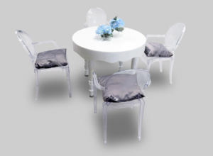 avalon curved round white dining table setup with dauphin ghost chairs 1 300x220 - Avalon Chic Round White Dining Table
