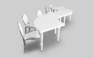 avalon quarter moon white dining table setup with chrome dior dining chairs 1 1 300x190 - Avalon Quarter Moon White Dining Table