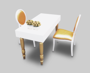 avalon rectangular dining table setup with gold dior dining chairs 1 300x244 - Avalon Rectangular Gold Dining Table