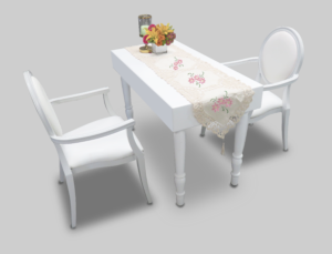 avalon rectangular white dining table setup with white dior dining armchairs 1 300x229 - Avalon Rectangular White Dining Table