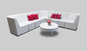 avalon round white coffee table setup with chameleon single chairs 3 1 300x175 - Avalon Round White Coffee Table