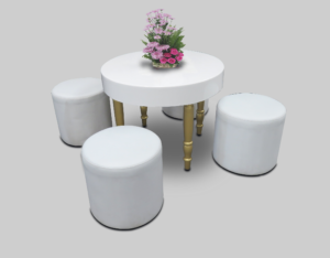 avalon round white dining table setup with roma round pouffes 1 1 300x234 - Avalon Round Gold Dining Table
