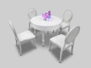 avalon round white dininng table setup with dior chairs 300x223 - White Dior Dining Chair