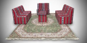 chameleon arabic sofa without arms setup 4 300x150 - High Arabic Majlis 2-Seater Sofa