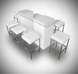 cocktail table le minou rectangular glass cocktail table setup 1 300x284 - Le Minou Vertex High Table