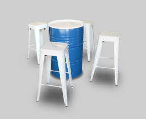 collins drum cocktail table blue and white with pauchard bar stools 1 300x245 - Collins Drum Cocktail Table - Blue and White