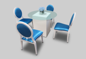 le minou pear dining table setup with blue dior dining chairs 1 300x207 - Le Minou Round Glass Dining Table