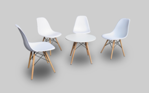 scandinavian round coffee table setup with scandinavian chairs 2 300x188 - Scandinavian Chair