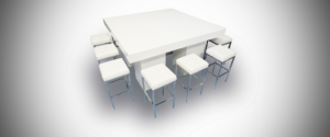 whtie barcelona setup 2 1 300x125 - Le Minou Square High Table